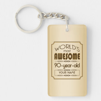 Gold 90th Birthday Celebration World Best Fabulous Keychain