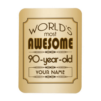 Gold 90th Birthday Celebration World Best Fabulous Magnet