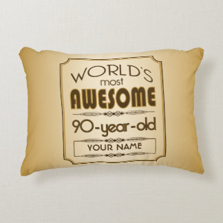Gold 90th Birthday Celebration World Best Fabulous Accent Pillow
