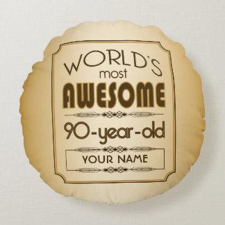 Gold 90th Birthday Celebration World Best Fabulous Round Pillow