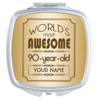 Gold 90th Birthday Celebration World Best Fabulous Mirror For Makeup