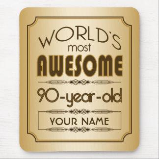 Gold 90th Birthday Celebration World Best Fabulous Mouse Pad