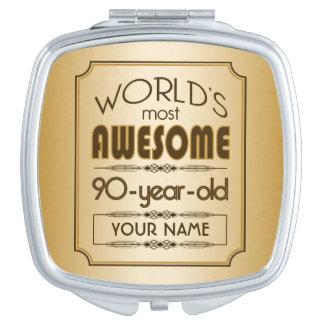 Gold 90th Birthday Celebration World Best Fabulous Makeup Mirror