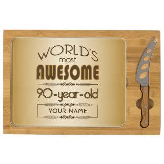 Gold 90th Birthday Celebration World Best Fabulous Rectangular Cheeseboard