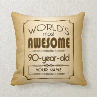 Gold 90th Birthday Celebration World Best Fabulous Throw Pillows