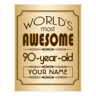 Gold 90th Birthday Celebration World Best Fabulous Postcard
