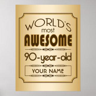 Gold 90th Birthday Celebration World Best Fabulous Poster