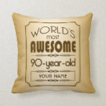 Gold 90th Birthday Celebration World Best Fabulous Throw Pillow