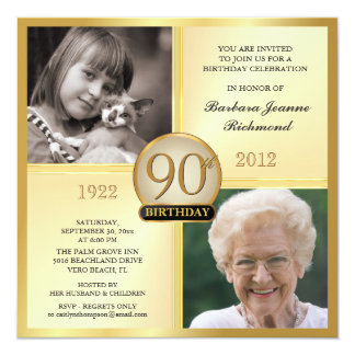 Gold 90th Birthday Invitations Then & Now 2 Photos