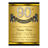 90th birthday invitations 1300 90th birthday announcements invites gold 90th birthday party filmwisefo Choice Image