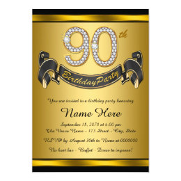 90th birthday party invitations announcements zazzle gold 90th birthday party card filmwisefo Images