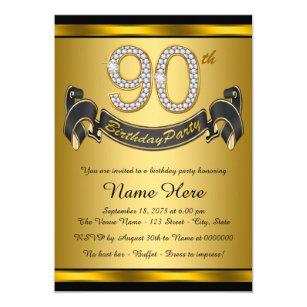 90th birthday invitations zazzle gold 90th birthday party invitation filmwisefo