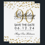"Gold 90th Birthday Save Date Confetti Invitation<br><div class=""desc"">Elegant ""90th Birthday Party"" design with Gold Faux Glitter Confetti and custom name and details text. Easy to use and easy to personalize. Order Today!</div>"