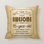 Gold 95th Birthday Celebration World Best Fabulous Throw Pillow at Zazzle