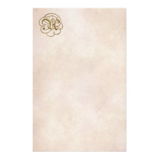 "Gold ""A"" Monogram on Aged Paper 1 - Stationery"