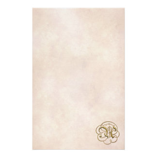 "Gold ""A"" Monogram on Aged Paper 2 - Stationery"