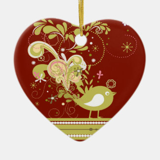 Gold Abstract Bird on Burgundy Heart Ornament