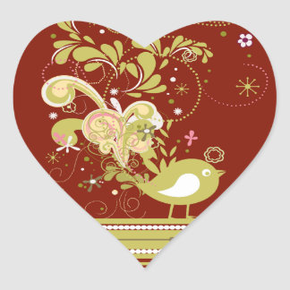 Gold Abstract Bird on Burgundy Heart Stickers