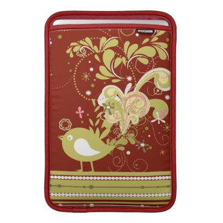 Gold Abstract Bird on Burgundy MacBook Sleeve