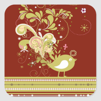 Gold Abstract Bird on Burgundy Square Stickers