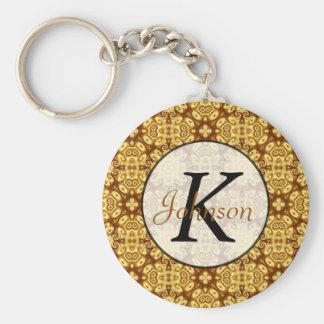 Gold Abstract Geometric Ornament Twirls Pattern Basic Round Button Keychain