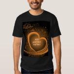 Gold Abstract Heart Basic Dark T Shirt