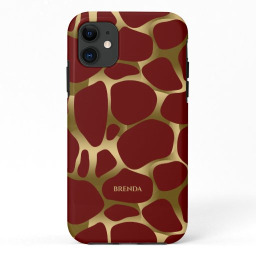 Gold abstract leopard pattern on red iPhone 11 case