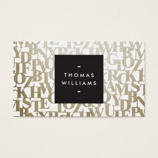 Gold Abstract Letterforms for Authors and Writers Business Card
