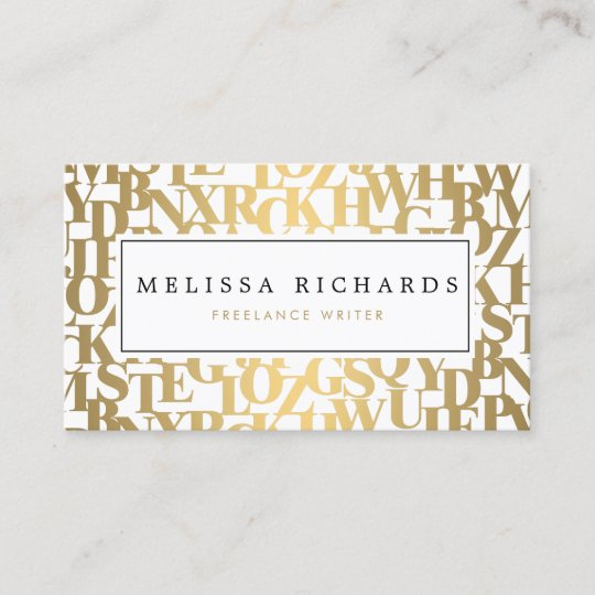 Gold Abstract Letterforms Iii For Authors Writers Business Card