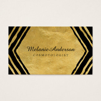Gold Abstract Makeup Artist Business Cards