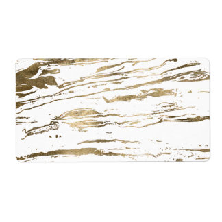 Gold abstract marbleized paint label