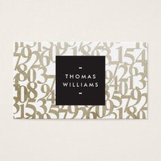 Gold Abstract Numbers For Accountants, Accounting Business Card at Zazzle