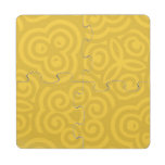 Gold Abstract Pattern Puzzle Coaster