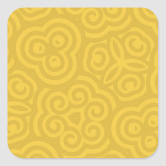 Gold Abstract Pattern Square Sticker