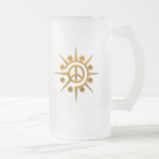GOLD ABSTRACT PEACE SIGN FROSTED GLASS BEER MUG