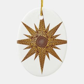 Gold Abstract Star Illustration Ceramic Ornament
