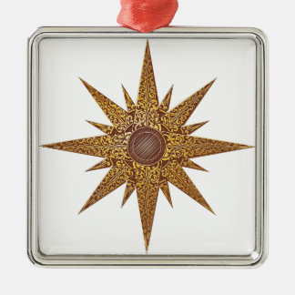 Gold Abstract Star Illustration Metal Ornament