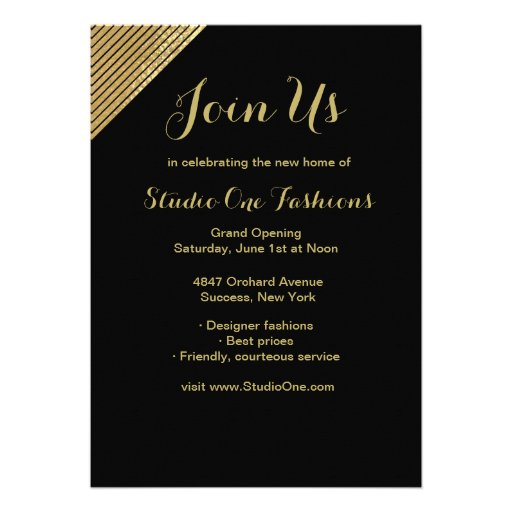 Gold Accent Grand Opening Invitations