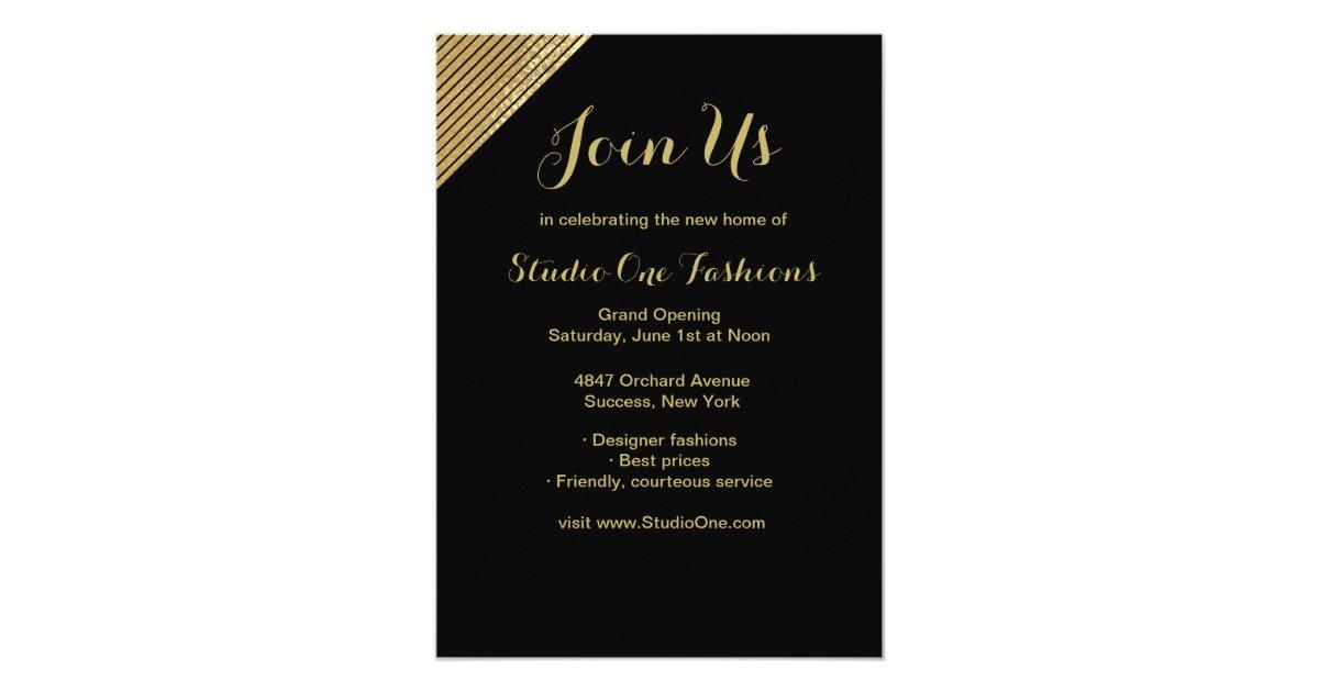 Gold accent grand opening invitations zazzle m4hsunfo