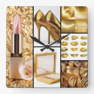 Gold Accessories Glamorous Fashion Collage Square Wall Clock
