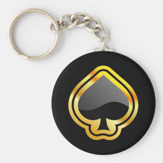 Gold Ace of Spades Keychain