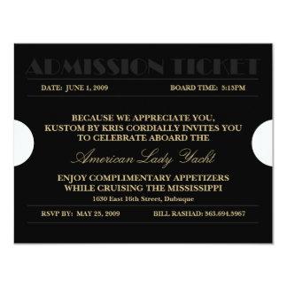 Gold Admission Ticket 4.25x5.5 Invitations