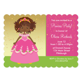 Gold African American Princess Girl Birthday Party Card