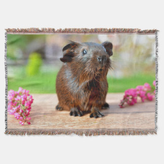 Gold Agouti Guinea Pig and Flowers Throw Blanket