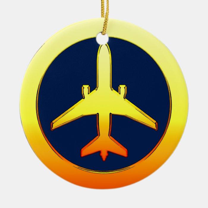 Gold Airliner Ceramic Ornament