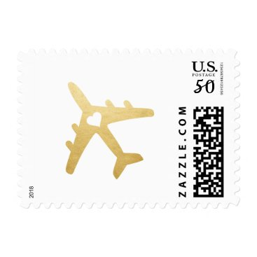 CustomPaperWorks Gold Airplane Heart Wedding Stamp