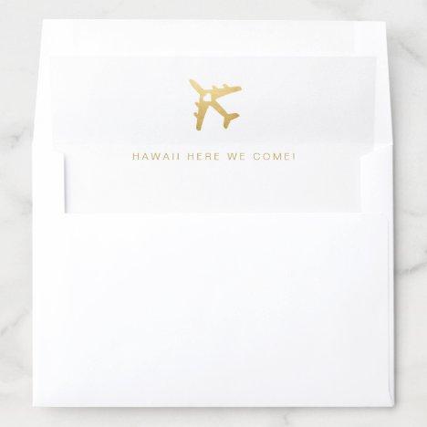 Gold Airplane Travel Theme Envelope Liner
