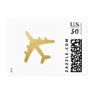 Gold Airplane Travel Theme Shower Mitzvah Party Postage