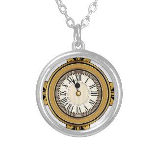 Gold Alarm Clock Icon Round Pendant Necklace