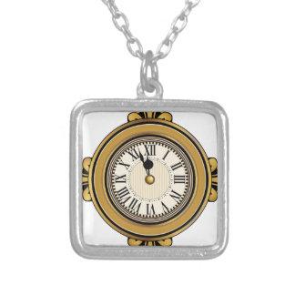 Gold Alarm Clock Icon Square Pendant Necklace